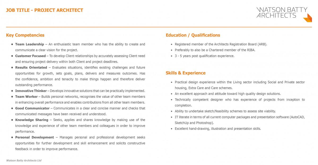 Watson Batty Job Vacancy Project Architect Living Sector
