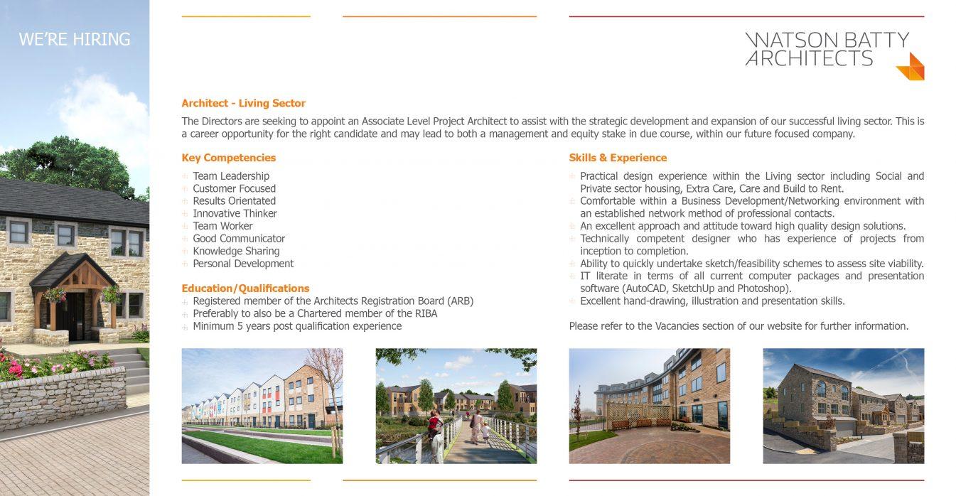 Watson Batty Architects; Leeds; Guiseley; Loughborough; Construction; Architecture; Yorkshire; Experience; Career; Vacancies; Job; New Role; FutureBuilt; Staff; WBA; Employees