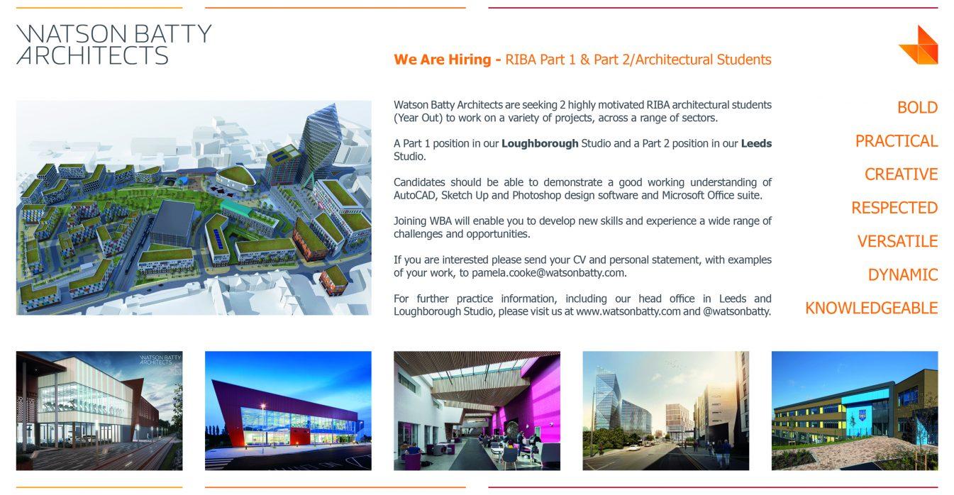 Watson Batty Architects; Leeds; Guiseley; Loughborough; Construction; Architecture; Yorkshire; Experience; Career; Vacancies; Job; New Role; FutureBuilt; Staff; WBA; Employees; Student; Placement